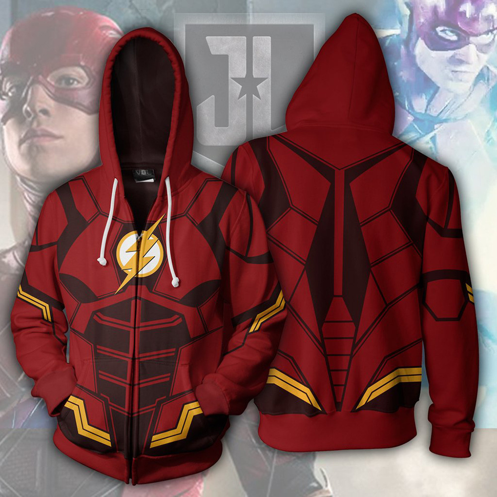 The Flash Man Sweater Costumes Cosplay Hoodies Unisex 3D Printing Cosplay Superhero Hooded Zip Up Polyester Thin Tops