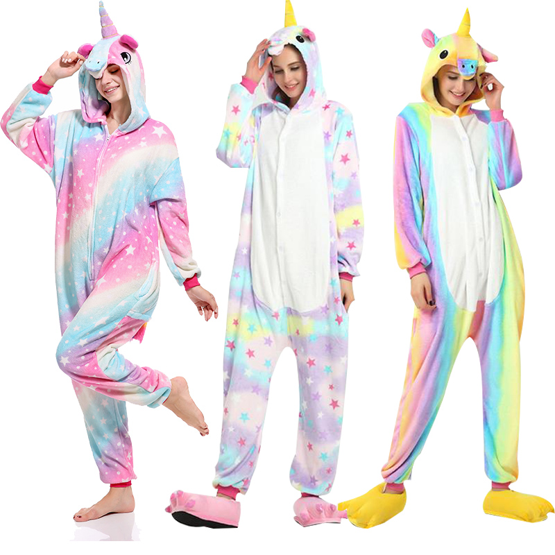 Kigurumi Pajamas Unicorn Stitch Onesies For Adults Animal Flannel Sleepwear Women Men Christmas Costume Shark Panda Nightwear