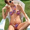 Rainbow Color Crisscross Wrap Bikini Women S Beach 2018 Brazilian Beach Bikinis Set Sex Top Swimwear