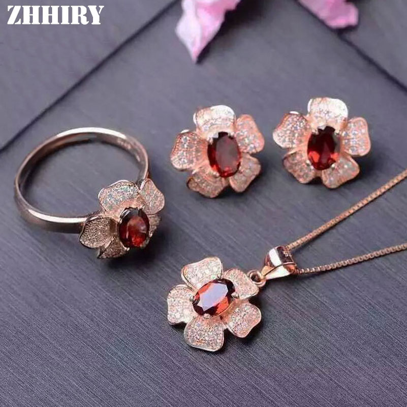 ZHHIRY Natural Garnet Gemstone Jewelry Set Genuine 925 Sterling Silver Necklace Pendant Ring font b Earring