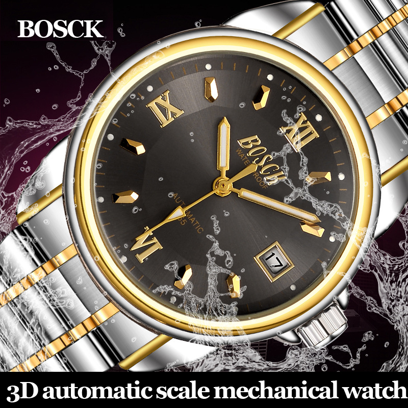 BOSCK High Quality Tourbillon Men Watches Top Brand Luxury Business Waterproof Watches Men Automatic Mechanical Wrist Watches new business watches men top quality automatic men watch factory shop free shipping wrg8053m4t2