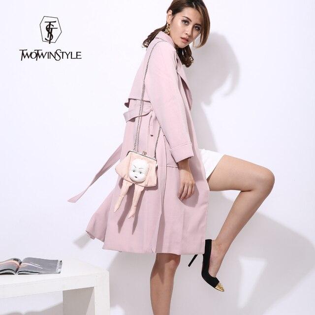 [TWOTWINSTYLE] 2017 Осень Корейский Длинный Плащ для Женщин с Поясом Зашнуровать Розовый Серый Ветровка Новый Clothing Fashion
