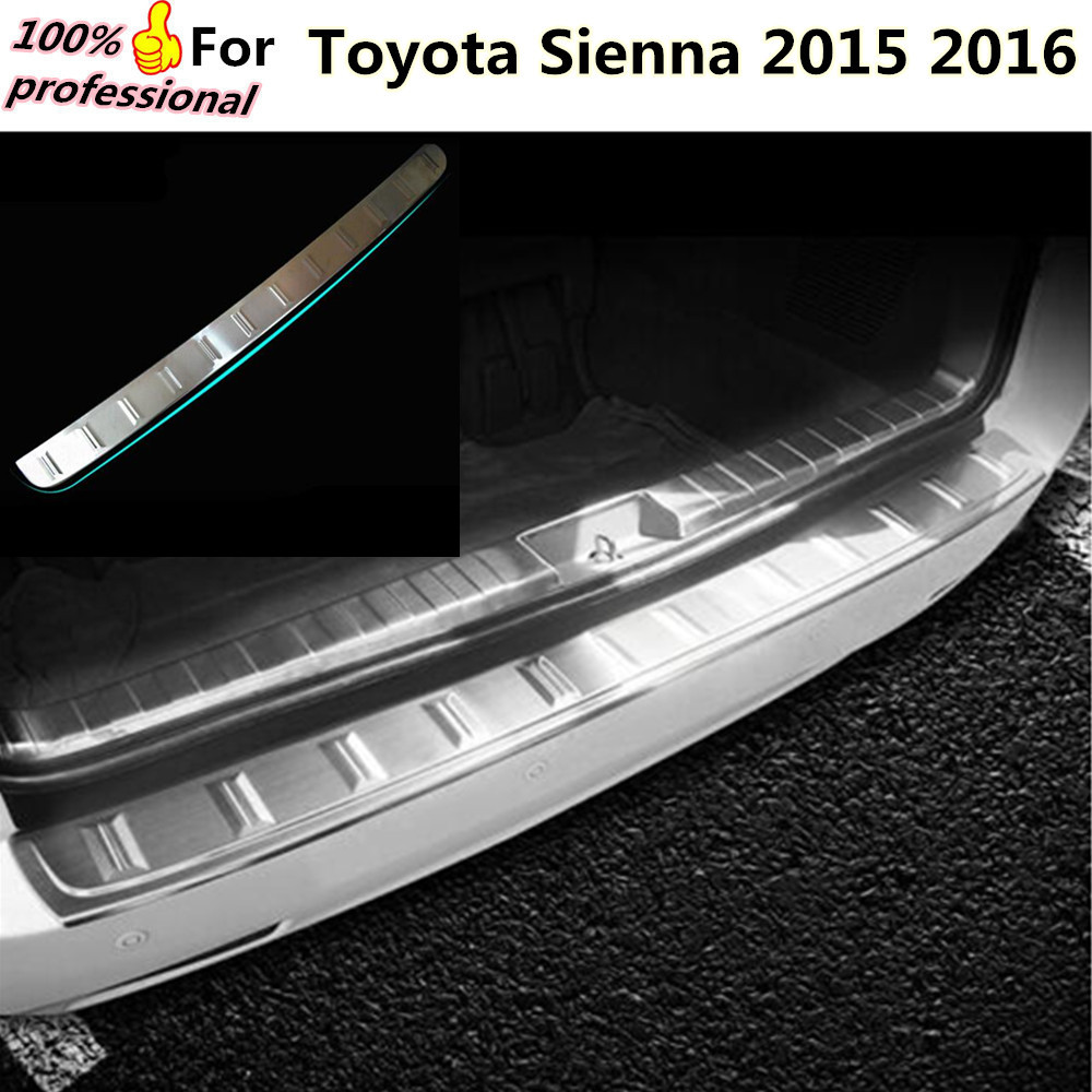 High Quality External Rear Bumper Protect trim car cover detector Stainless Steel plate pedal 1pc for Toyota Sienna 2015 2016 car styling cover detector stainless steel inner built rear bumper protector trim plate pedal 1pcs for su6aru outback 2015