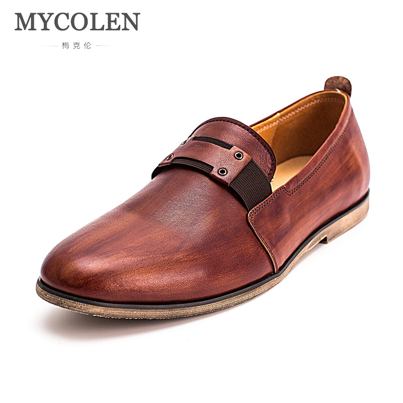MYCOLEN 2018 Men Genuine Leather Casual Shoes Male Shoes Fashion Flats Round Toe Loafers Slip on Man Driving Sneakers Brand mycolen new fashion genuine leather men loafers slip on casual shoes man luxury brand driving shoe male flats footwear black