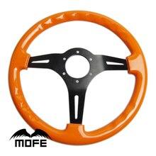 Mofe Гонки Настоящее Дерево Рулевого колеса 350 мм 3 Черный Алюминиевый Спицы Deep Dish Деревянный Руль