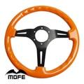 Рулевое колесо из натурального дерева Mofe Racing, 350 мм, 3 черные алюминиевые спицы, Глубокая тарелка, деревянное рулевое колесо