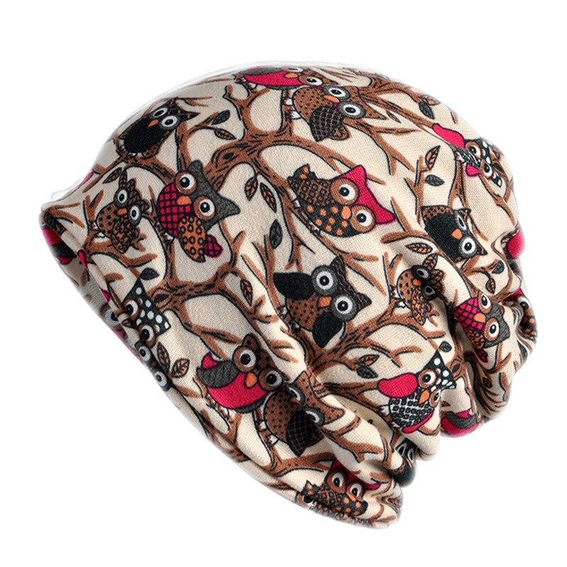 Turban Hat Female Winter Hats For Women Men   Skullies     Beanies   Owl Pattern Bonnet   Beanie   Lightweight Turban Slouchy Hat Cap
