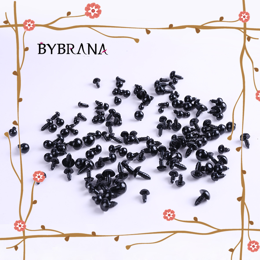 Bybrana 100pcs 6-16mm Black Plastic Craft Safety Eyes For Teddy Bear Stuffed Doll Animal Amigurumi DIY Accessories
