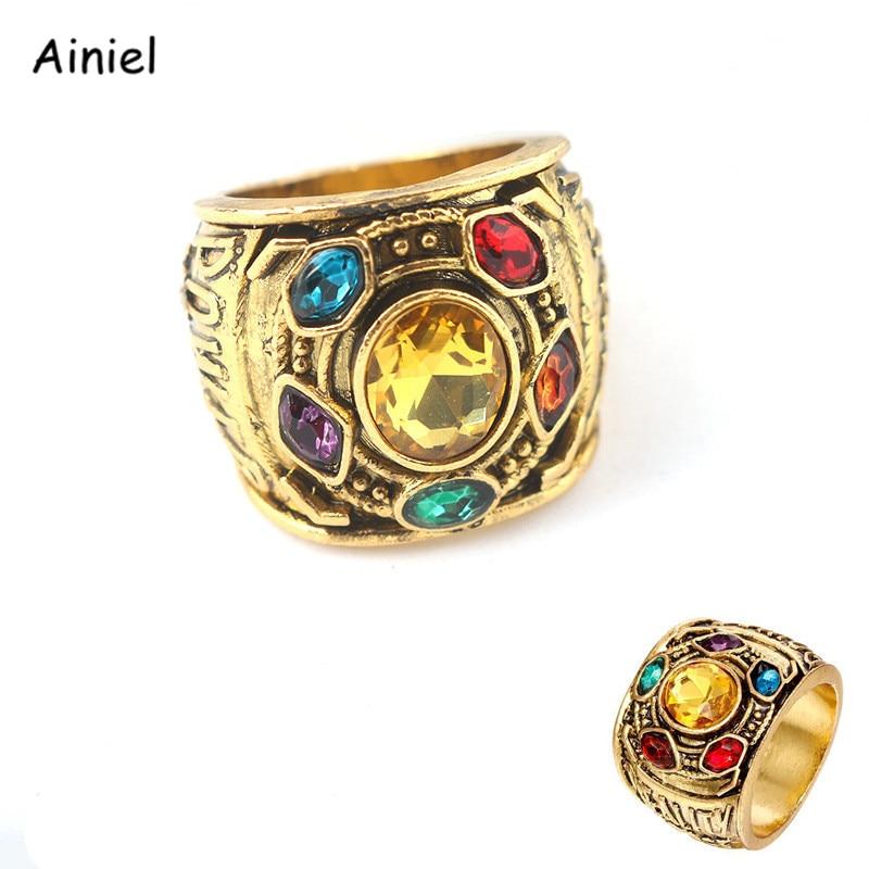MoviesThanos Ring Iron Man Avengers 3 Cosplay Costume Infinite Gemstone Ring Trinket Men Women Jewelry The Soul Stone Halloween