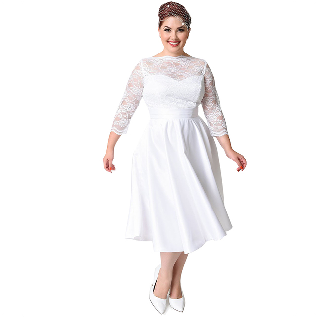 Cheap Simple Wedding Dresses 2017 Plus Size 3/4 Sleeves White Elegant Boat  Neck Lace