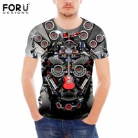 FORUDESIGNS Hot Machine Prints Men Top Tees T shirt Fashion High Quality Summer Casual Breathable O Neck Male 2018 T Shirt Boys