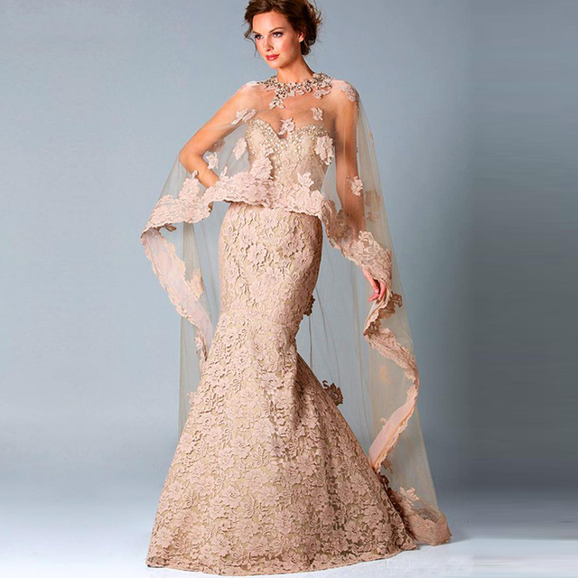 Mãe formal Da Noiva Do noivo vestir roupas Com Xaile Plus Size Lace Vestidos de Noite vestido de festa de casamento
