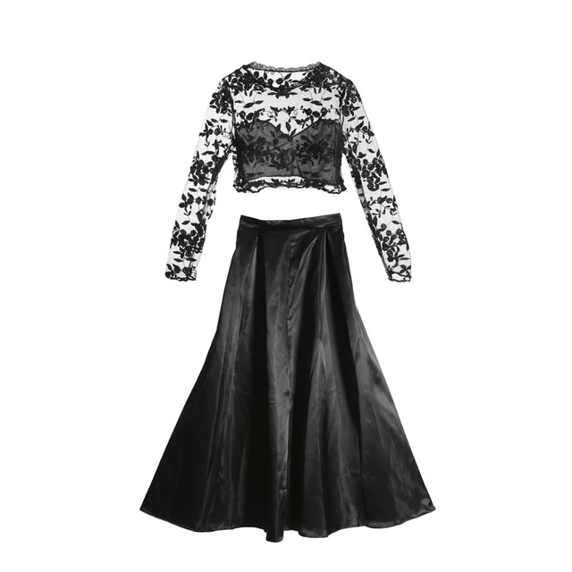 a5b525731f 2018 new fashion Women Long Sleeve black lace crop top skirts sets Cocktail  elegant ladies Ball Gown Formal Prom long skirts set