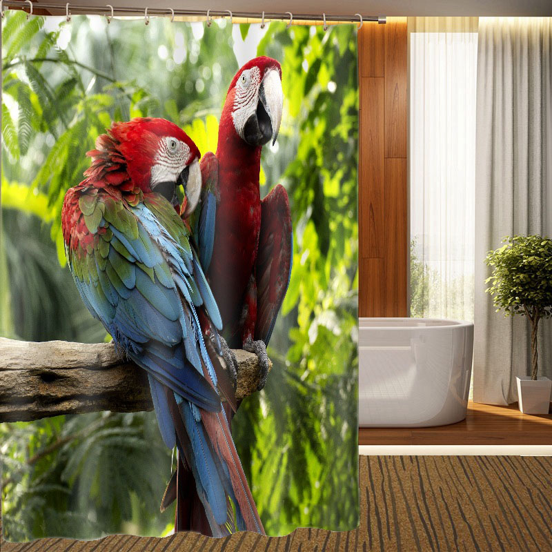 MYRU 3D Print Waterproof Birds Shower Curtains Bath