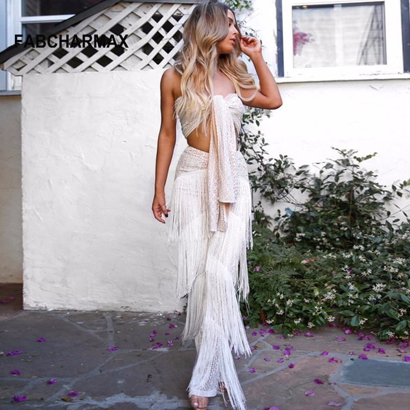 white black fringe lace sexy rompers womens jumpsuit strapless front tie tube top sleeveless club jumpsuit tassel overalls women
