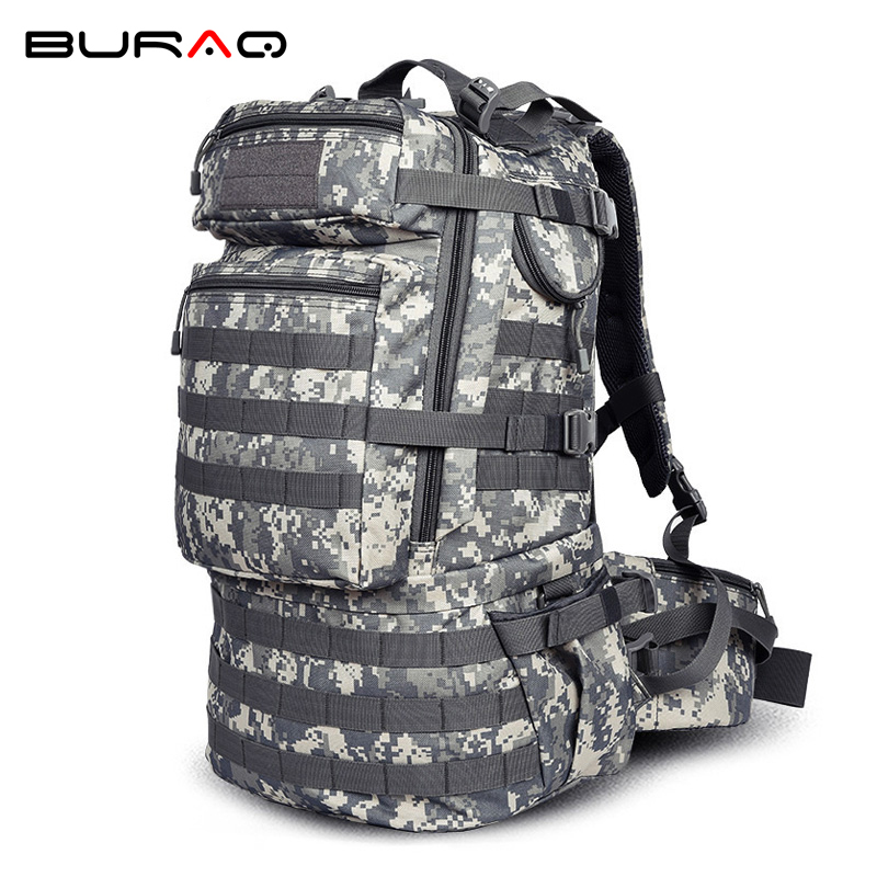 ACU Camouflage Men Professional Mountaineering Backpack Waterproof Big Capacity 50L Molle Python Airsoft Travel Backpacks A31 50l hot men s military python backpack waterproof 600d nylon camouflage backpacks multi function men travel bags a26