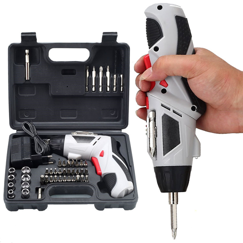 household 4.8v cordless screwdriver rechargeable electric screwdriver 45pcs combo battery drill multi-functional power tools 45pcs drills 4 8v cordless rechargeable reversible electric screwdriver tool set electric screwdriver with plastic case