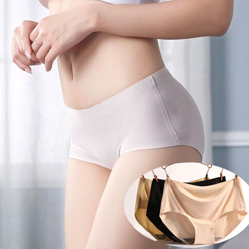 OLN New one-piece seamless underwear women's Seamless sexy   Panties   Ice silk briefs Intimates lady middle waist fashion   panties