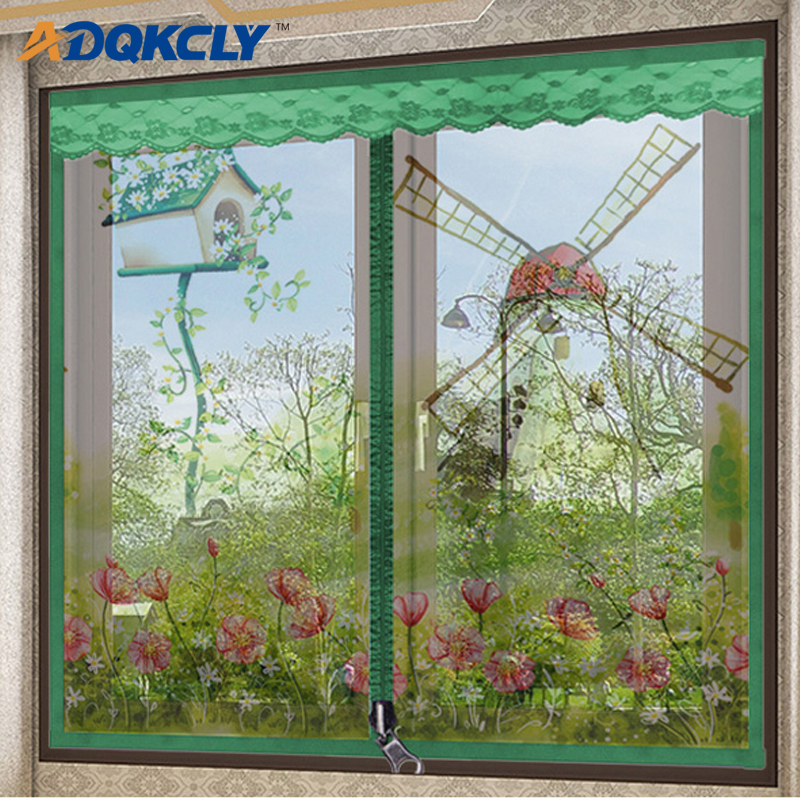 ADQKCLY High Density Summer Window Screen Polyester Fiber Lace Anti-mosquito Winow Mesh Easy Install With Zipper Window Net
