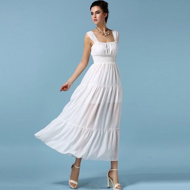 0aa6c865b14 Black White Chiffon Long Dress Women Summer Dresses 2015 New Casual  Spaghetti Strap Plus Size Maxi Dress Vestido De Festa Longo