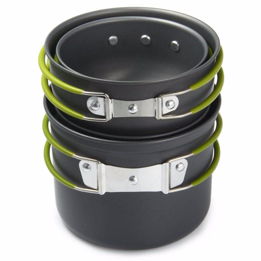 4 pc panéas appareils de cuisson ensemble antiadhésif extérieur Portable ustensiles de cuisine en aluminium anodisé Pot bol ustensiles de Camping outils de cuisine