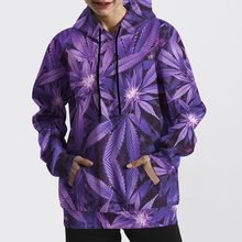 Women Hoodies Purple Leaves Digital Print Loose Sweatshirts Long Sleeve Sportswear Oversize Shirt Casual Pullover(China)