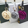 Real Mink hair camellia keychain car female bags double faced rose accessories fur