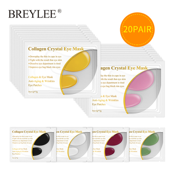 BREYLEE 24K Gold Eye Mask 20pairs Collagen Crystal Serum Eye Patches Anti Wrinkle Puffiness Face Skin