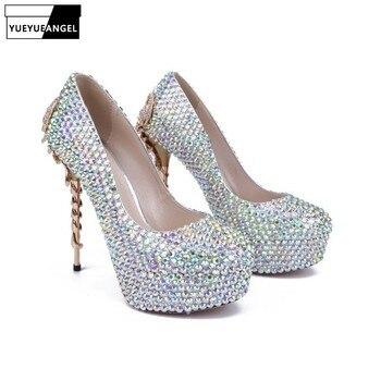 Fashion Women Stiletto High Heel Shoes Comfoerable Slip On Lady Sexy Crystal Pumps Metal Decoration Women Dress Wedding Shoes
