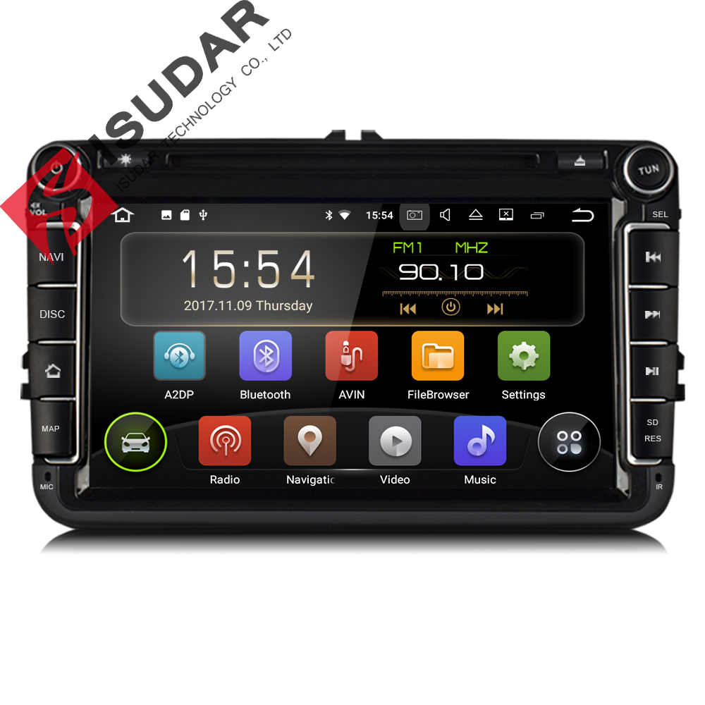 Isudar dos Din reproductor Multimedia Android 7,1 Radio Auto para Skoda/Seat/Volkswagen/VW/Passat b7/POLO/GOLF 5 6 DVD GPS 4 núcleos