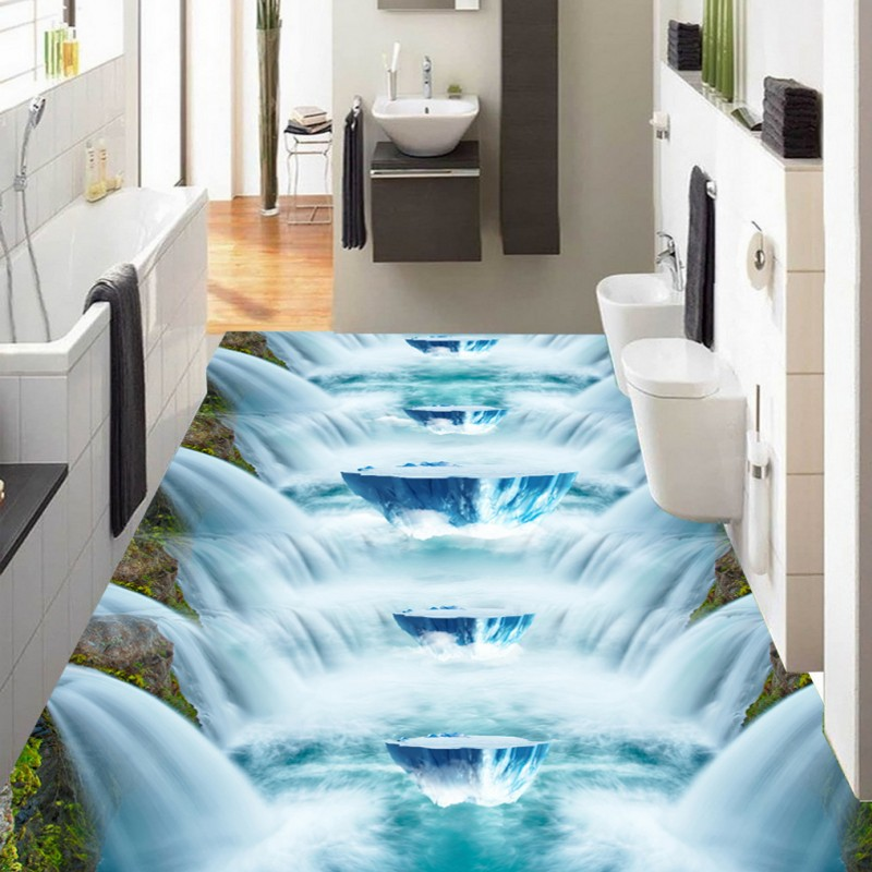 Free Shipping Waterfall 3D floor painting thickened bathroom bedroom living room kitchen restaurant flooring mural