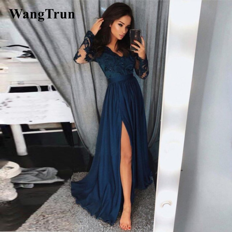 Sexy Split Front Navy Blue Satin   Prom     Dress   Illusion Long Sleeve V Neck Long Elegant Evening   Dress   Formal Gowns