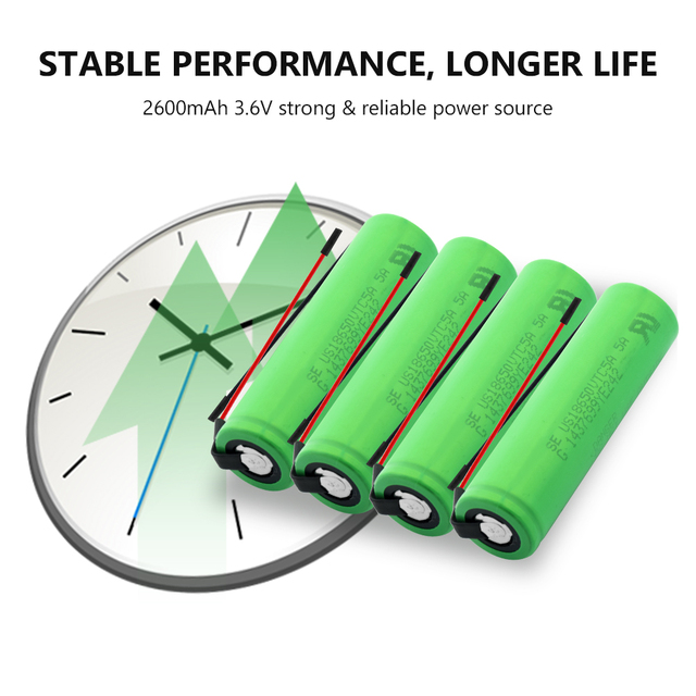New 1-10Pcs US18650VTC5A 3.6 v 2600 mah 18650 Battery Lithium Rechargeable Battery 35A High Drain With Diy Wires batteries 3