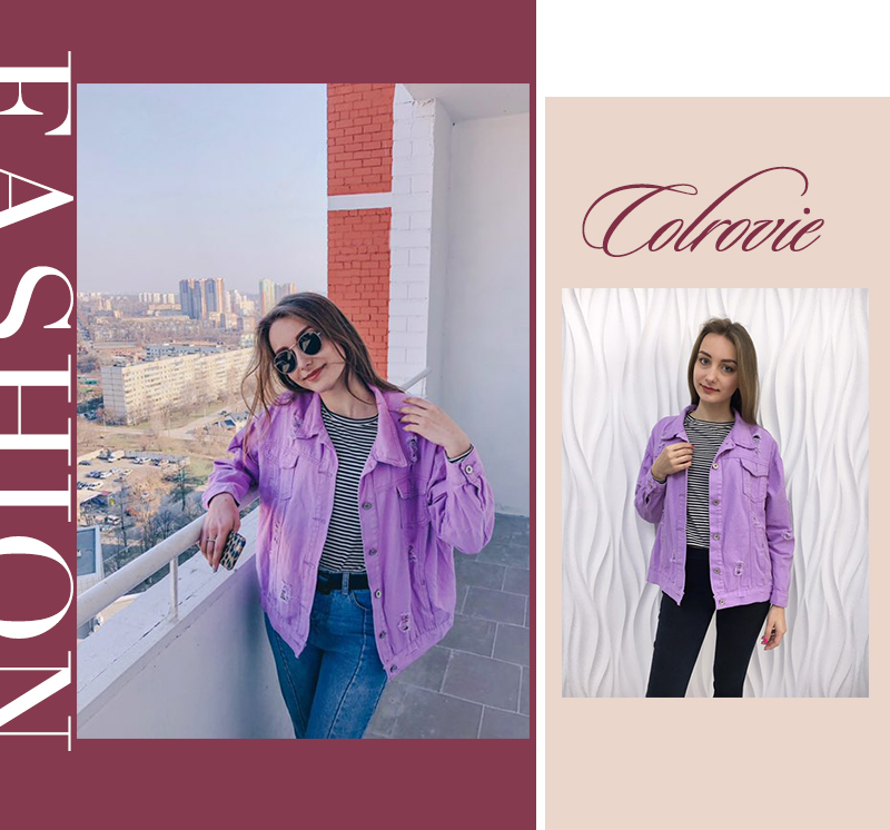 COLROVIE Ripped Drop Shoulder Women Denim Jackets Black White Oversize Purple Casual Female Jacket Coat Chic Jacket for Girls 4