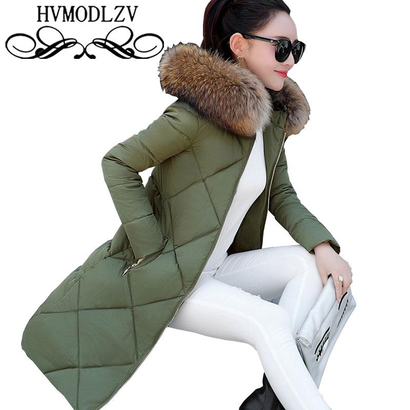 Parka New 2017 Autumn Winter Women Down Cotton Coat Hooded Fur Collar Thicker Cotton Outerwear Slim