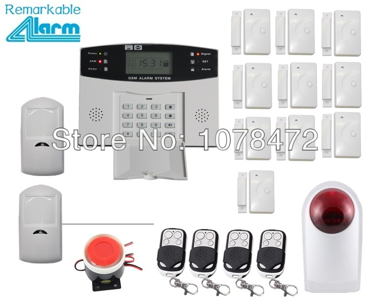 Ios & Android App controlled alarm system,Customized SMS GSM alarm system with wireless outdoor strobe siren,classic home alarm