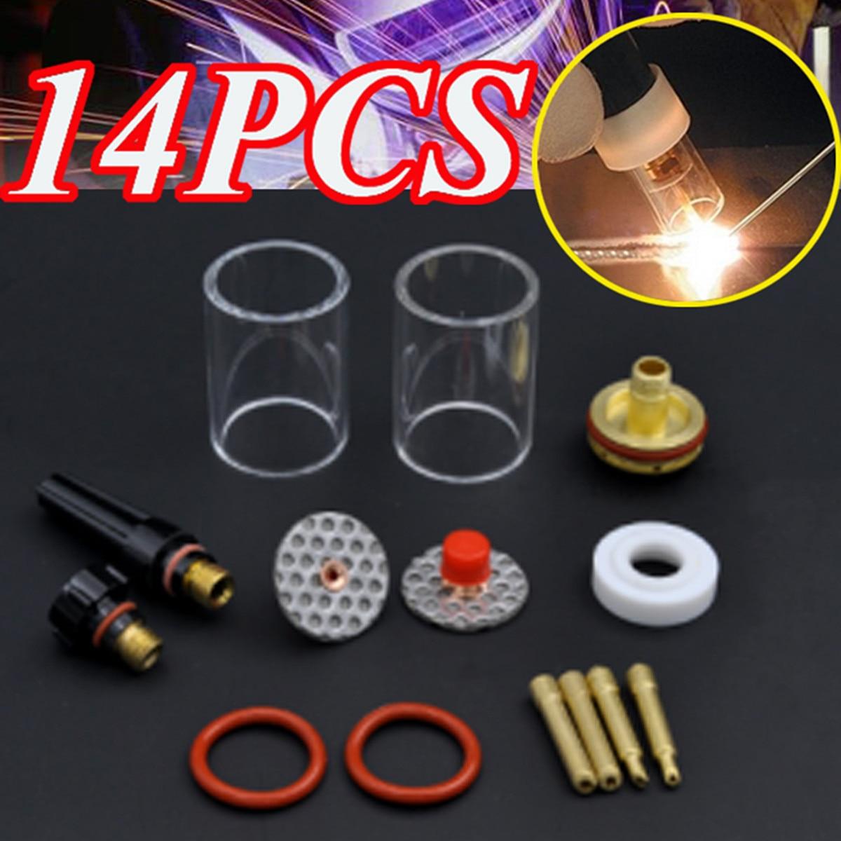 1SET 14PCS TIG Welding Torch Stubby Gas Lens Glass Pyrex Cup Kit 3.2mm 1/8 For WP17/18/26 Welding Series 1set 14pcs tig welding torch stubby gas lens glass pyrex cup kit 3 2mm 1 8 for wp17 18 26 welding series