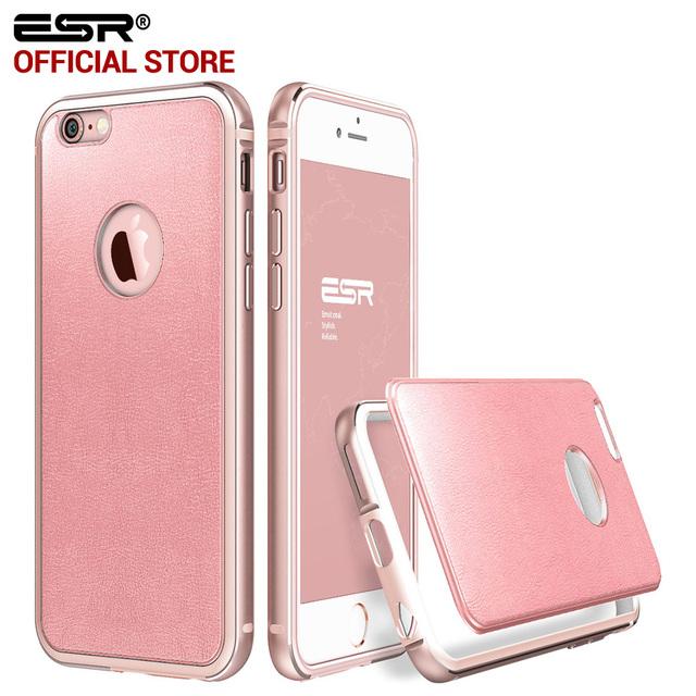Bumper para iphone 6 6 s plus, esr híbrido case de alumínio armação de metal + pu de couro colorido tampa traseira case para iphone 6/6 s/6 plus