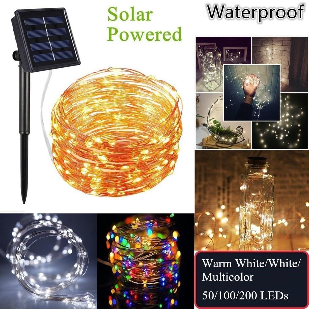 Cadena de luces LED de alambre de cobre con energía Solar para exteriores 20 m 10 m 5 M Luz de hadas impermeable para decoración navideña de vacaciones de jardín