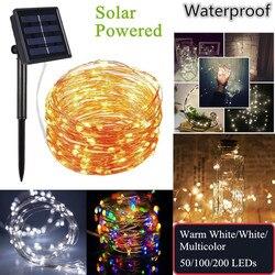 Fio de cobre movido a energia solar ao ar livre luzes led string 20 m 10 m 5 m à prova dwaterproof água luzes de fadas para o jardim natal lâmpada do feriado decorat