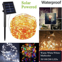 Outdoor Solar Powered Copper Wire LED String Lights 20M 10M 5M Waterproof Fairy Lights for Christmas Garden Holiday Lamp Decorat
