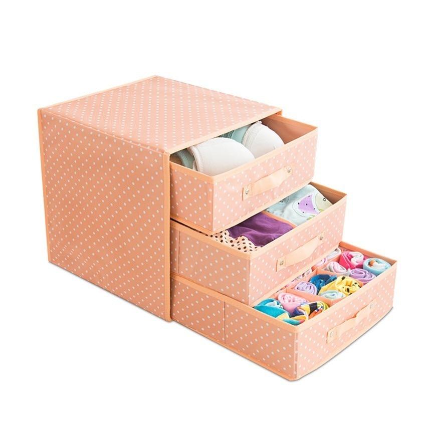 New Oxford Storage Container Drawer Divider Lidded Closet Box For Ties Socks Bra Underwear Clothing Organizer 3 Layer