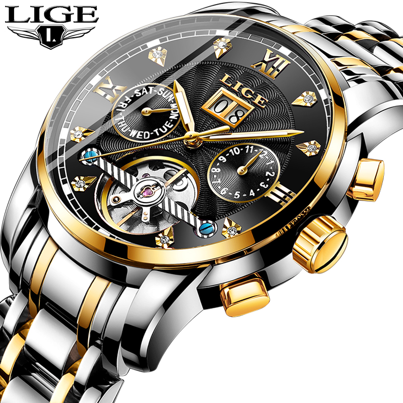 LIGE Top Brand Luxury Men Watches Automatic Date Mechanical Watch Male Stainless Steel Waterproof Sport Watch Men Reloj HombreLIGE Top Brand Luxury Men Watches Automatic Date Mechanical Watch Male Stainless Steel Waterproof Sport Watch Men Reloj Hombre