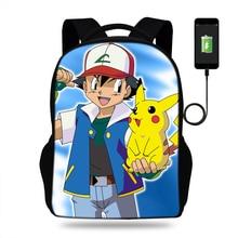 16-дюймовый шпилька стильная футболка с изображением персонажей видеоигр сумка для ноутбука с принтом для детей рюкзак Pokemon зарядка через usb школьная сумка для подростков дорожная сумка для мальчиков и девочек
