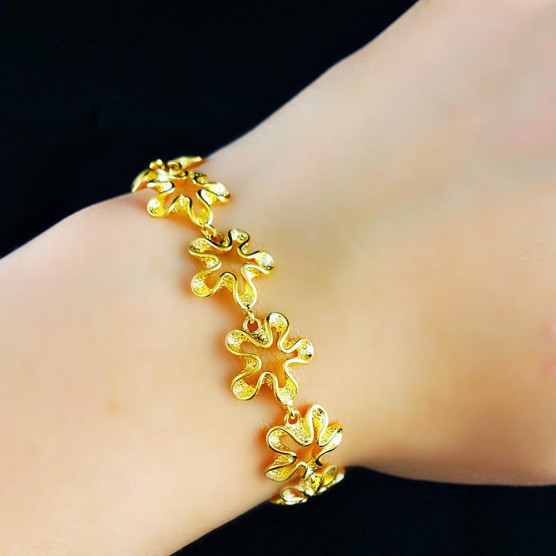 Wholesale K gold plating jewelry flower bracelet women Fashion