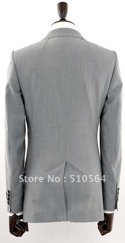 e7c9df93957 Hot sale Wool suit Men Formal Business suit Two button light grey Suit  Wholesale Free shipping-in Blazers from Men s Clothing on Aliexpress.com