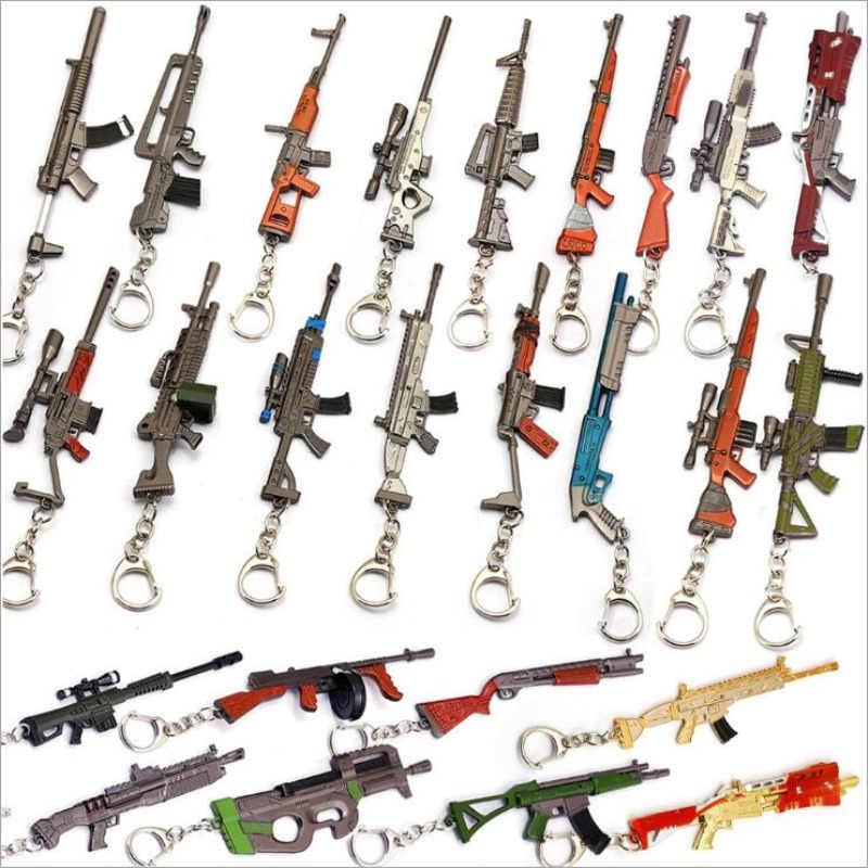 Hot Saling Diy 3D รุ่น Keyfob อาวุธพวงกุญแจ FPS PUBG เกมปืน 98 พัน AK47 Snipe Submachine Gun Keychain ของขวัญของที่ระลึก 12 เซนติเมตร