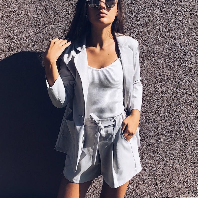 Cotton Linen Summer Suit Female 2 Pieces Set Tracksuit for Women Loose Blazer & Bow Elastic Waist Short Pant Suits High Quality(China)