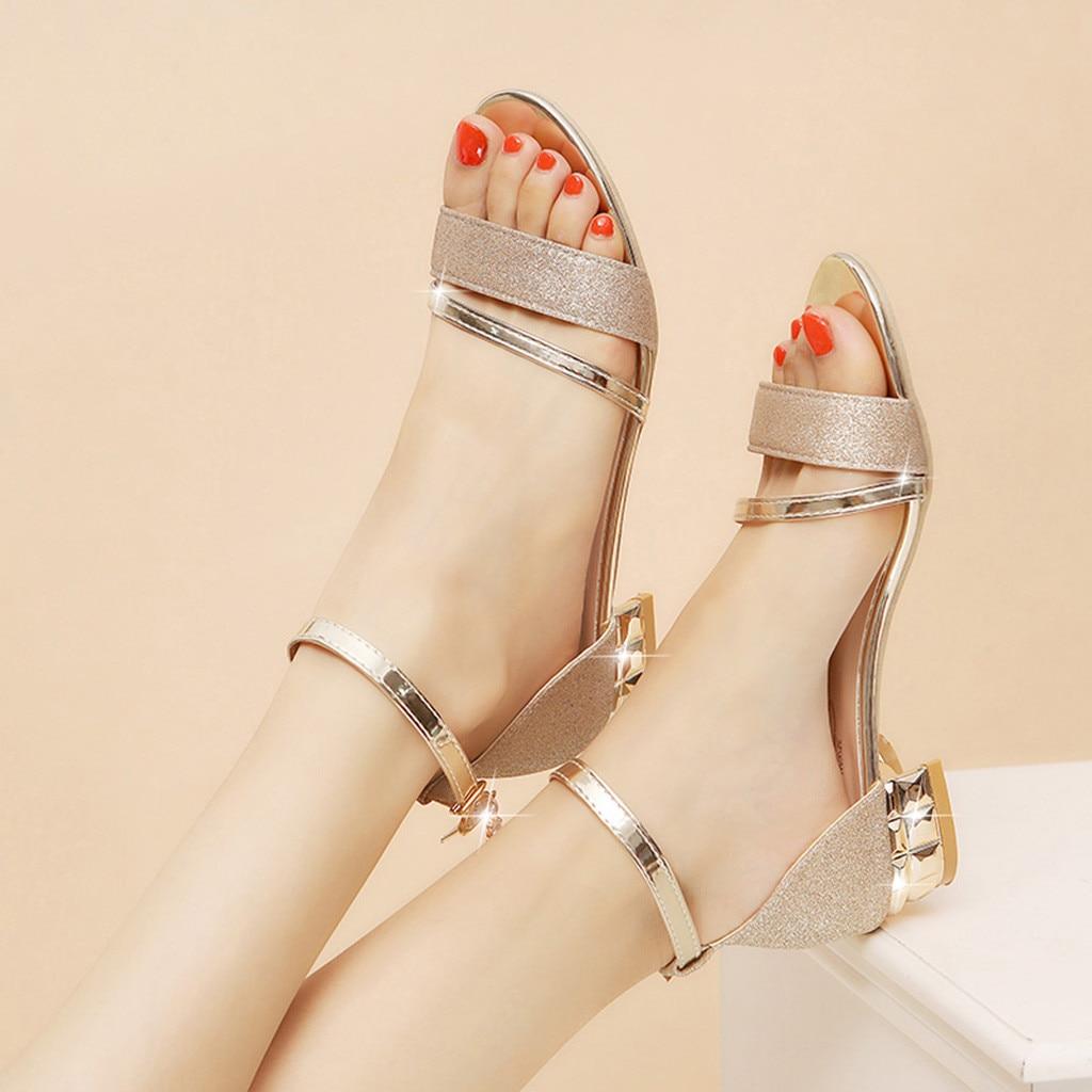 MUQGEW Sandals Square Wedge Heel Mid-Heel-Block Summer Shoes Open-Toe Ankles Women