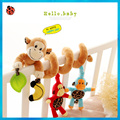 1Set High Quality Music Animal Monkey Baby Rattles & Mobiles 50CM Bed Around Baby Kids Cartoon Animal Plush Colorful Soft Toys